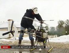 Un drône inspecte une ligne HT coupée par la neige